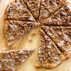 Little Birdie Secrets: cinnamon streusel dessert pizza - use a gf pizza crust recipe and gf flour in the streusel.