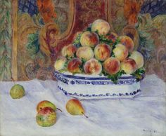 Auguste Renoir- Still Life with Peaches- Form- the overlapping of the peaches gives the bowl a sense of volume and depth, it looks like the bowl is over flowing with peaches