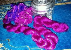 magenta thrum silk for spinning art batts and rolags measures 24in.