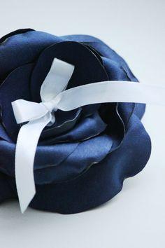 wedding ring pillow navy blue flower #ringpillow