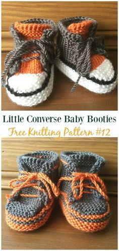 Baby Knitting Patterns Knit Little Converse Baby Booties Free Pattern – Baby Slippers Booties Free Patterns Baby Hat Knitting Patterns Free, Baby Booties Free Pattern, Baby Hat Patterns, Knit Baby Booties, Baby Hats Knitting, Knitting For Kids, Knitting Socks, Knit Patterns, Booties Crochet