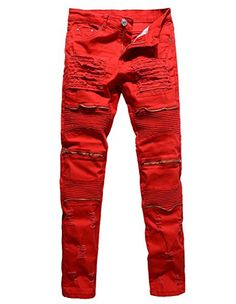9cef0b78816 New Red White Black Men Biker Knees Zipper Denim Ripped Jeans Slim Fit  Skinny Straight Trousers Punk Hip Hop Pants for Men men quotes   Details on  product ...