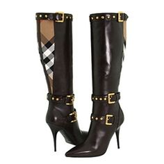 Nurnerry stylelike - Contrast Materials Pointed toe Knee High Boots