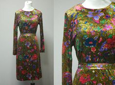 1960's Long Sleeve Flower Power Dress  Lord by LittleGhostVintage