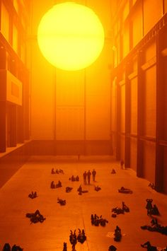 The Weather Project, by Olafur Eliasson, 2003, in the Turbine Hall of the Tate Modern, London, UK.