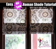 Easy DIY No Sew Roman Shades Tutorial with Video via PinkWhen.com 1