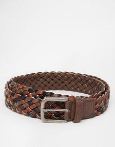 ASOS Plaited Belt In Brown Faux Leather
