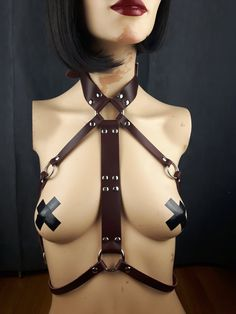 Harness Leather / Body Harness / Queen Oxblood by StarCreationsCa Leather Harness, Oxblood, Handmade Items, Handmade Gifts, Leather Accessories, Vegan Leather, Queen, Trending Outfits, Unique Jewelry