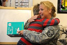Air Force Master Sgt. Nicole Baldwin, reunites March 18 with her son, Connor Baldwin, 6, at Meridian Ranch International Elementary School in Falcon School District 49. As kindergarten teacher Ashley Mullins announced a special guest for story time, she knocked on a door. Baldwin opened it. Connor ran for a hug. A reservist assigned to the 39th Aerial Port Squadron at Peterson Air Force Base, Baldwin had just returned from a seven-month deployment to the Middle East.