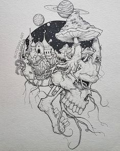 Pin by rock neptune on to do çizimler, çizim fikirleri, sana Trippy Drawings, Dark Art Drawings, Tattoo Design Drawings, Art Drawings Sketches, Cool Drawings, Tattoo Sketches, Tattoo Designs, Unique Drawings, Sketch Drawing