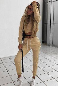 Khaki Fashion Sport Crop Top & Drawstring Waist Co-ord