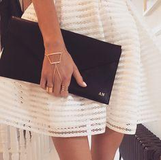 Gold Initial Monogram Black Clutch Bag ⒽⒶ Ⓓⓔⓢⓘⓖⓝⓢ