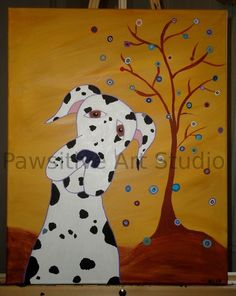 ORIGINAL ACRYLIC TREE HARLEQUIN GREAT DANE DOG GOLD BROWN ART PAINTING | eBay