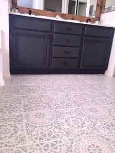 Painted Bathroom Tile Floor with Parlor Lace Stencil from Royal Design Studio - DIY Home Decor Idea using Floor Stencils - Project by Domestic Blonde