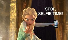 hahaha. didnt know elsa liked taking selfies. apparently shes very serious about it.:D