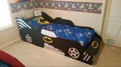 Batman car bed I made for my son. Cama Batman, Batman Car, Car Bed, Kid Beds, Boy Room, Big Boys, Toy Chest, Storage Chest, Toddler Bed