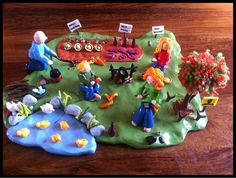 Fimo Ideas | Model Making with Fimo. A polymer clay vegetable garden scene made as a gift for a family embarking on a self sufficient life.