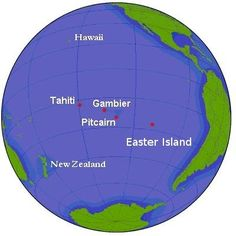Pitcairn Island as seen from a globe view with other Pacific Islands Pitcairn Islands, Relationship Over, Island Map, Aloha Hawaii, Kingdom Of Great Britain, Easter Island, Ocean Beach, Pacific Ocean