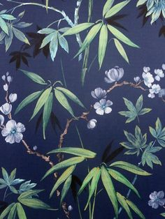 This Jasmine Garden Wallpaper features tropical rainforest leaves with subtle gold highlights running through, surrounded by lilac flowers against an on-trend navy blue background. This high quality wallpaper has a light fabric effect making it an even more luxurious statement to make in your home. Easy to apply, this high quality wallpaper could be used to create a feature wall or would work equally well when used to decorate a whole room. Navy Wallpaper, Tropical Wallpaper, Wallpaper Paste, Paper Wallpaper, Adhesive Wallpaper, Navy Blue Background, Pattern Matching, Gold Highlights, Lilac Flowers