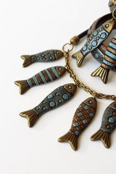 Fish Polymer Clay Necklace Pendant Jewelry Blue Boho Sea Style Ocean
