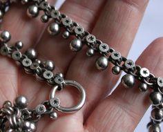 "Antique Victorian silver ball & star pierced collar locket chain 17.5"""