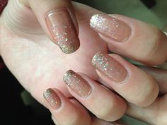 Glitter gradient nail art two different glitter polish on a pink base