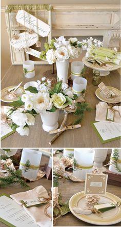 Green & White wintery wedding theme