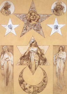 Alphonse Mucha: Study for Figures and Decoratives, 1905 http://4.bp.blogspot.com/