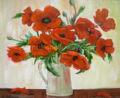 """""""Poppy Day"""" by Nuala Holloway - Oil on Canvas Oil On Canvas, Canvas Art, Still Life, Poppy, Day, Painting, Painting Art, Painted Canvas, Paintings"""