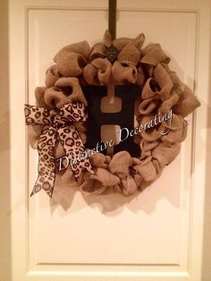burlap wreath with wooden letter - custom orders