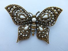 ART signed butterfly brooch gold tone with white cabochons W15 #ART