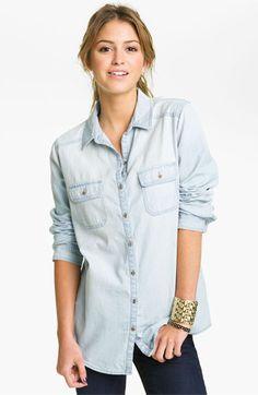 A good wardrobe staple. (Rubbish® Chambray Boyfriend Shirt - Light Wash (Juniors) | Nordstrom)