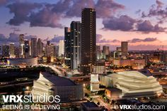 An amazing panoramic view of the city skyline at dusk from the #Hilton #Miami Downtown's rooftop. View more stunning photography here: http://www.vrxstudios.com