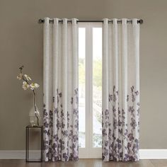 SONOMA Goods for Life™ Kendra Curtain ($45) ❤ liked on Polyvore featuring home, home decor, window treatments, curtains, purple, purple home decor, floral curtains, purple floral curtains, grommet panel and grommet curtains