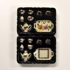 miniature china tea sets, dollhouse dishes, miniature accessory, serving tray, dollhouse tea set, miniature tea set, dollhouse china teapot by TinasMinis on Etsy China Teapot, China Tea Sets, Miniature Rooms, Serving Platters, Dollhouse Miniatures, Really Cool Stuff, Tea Pots, Tray, Dishes