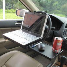 Автомобильный универсальный складной столик с выдвигающимся боковым отделом