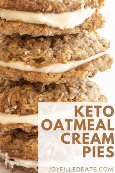 These homemade low carb keto Oatmeal Cream Pies are a show stopper! They are made with a sweet and tender cookie that has been filled with a cream cheese filling. Perfect for dinner parties, snacks, or whenever you are looking for a melt in your mouth treat. These easy keto oatmeal cookies are also gluten-free, sugar-free, and Trim Healthy Mama friendly. Sugar Free Oatmeal, Low Carb Oatmeal, Protein Oatmeal, Healthy Oatmeal Cookies, Protein Cookies, Keto Cookies, Low Sugar Recipes, No Sugar Foods, Sugar Free Desserts
