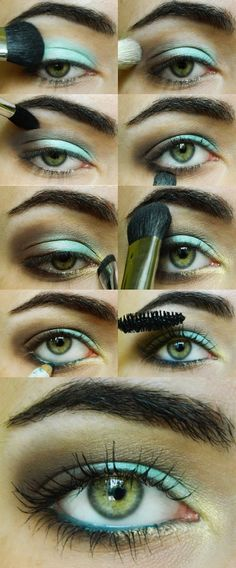 Teal, Brown and Gold Makeup Look. Recreate using Urban Decay (UD) Mainline or Junkie 24/7 Eyeliner on waterline. Use Buck for contour and Faint for outer corner. Use Shattered or Peace for inner third of lid.