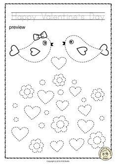 Tis .pdf file includes 20 Valentine`s Day themed Tracing