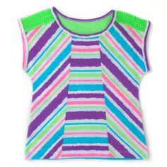 Big Girls' Striped Top with Netting Trim