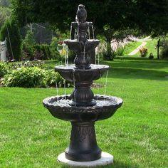 Sunnydaze 4 Tier Pineapple Fountain - FC-73650-BLK