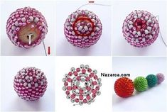 beaded wooden bead - how-to Seed Bead Tutorials, Beading Tutorials, Beading Patterns Free, Beaded Jewelry Patterns, Bead Crochet, Crochet Earrings, Christmas Ornaments To Make, Fabric Beads, Beaded Ornaments