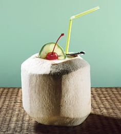 Luau Coconut - young coconuts, pineapple and lime juices, sugar, unsweetened coconut milk, light rum, gold rum.