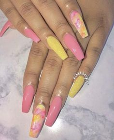 Nail Designs Pictures Summer but New Nail Art Designs For Short Nails Best Acrylic Nails, Cute Acrylic Nails, Acrylic Nail Designs, Nail Art Designs, Nails Design, Unique Nail Designs, Colored Acrylic Nails, Yellow Nails, Pink Nails