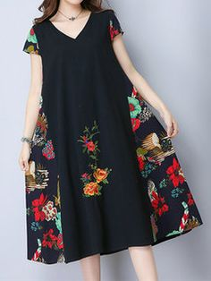 Women Patchwork Short Sleeve Plate Buckle Vintage Dresses Online - NewChic Mobile