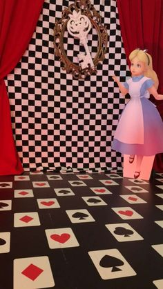 Photo booth at an Alice in Wonderland birthday party! See more party planning ideas at CatchMyParty.com!