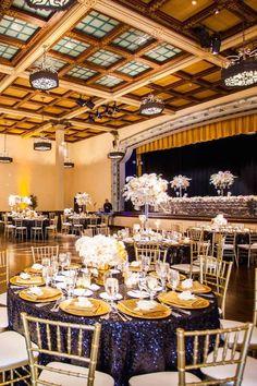 Glamorous Gold and Black San Diego Wedding - MODwedding Wedding Reception Themes, Gatsby Wedding, Mod Wedding, Dream Wedding, Reception Ideas, Wedding Ideas, San Diego Wedding, Table Settings, Golf Party