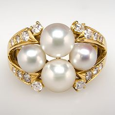 Mikimoto Pearl & Diamond Cluster Ring 18K Gold