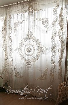 Hang A Goodwill Lace Bedspread For Romantic Boho Curtain
