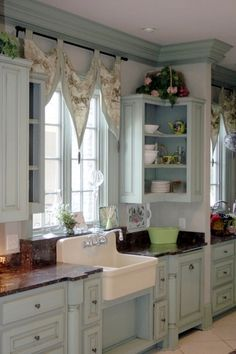 I want this kitchen -- maybe after I win the lottery.   Cottage style kitchen Pinned from cottagehomedecorating.com Very nice